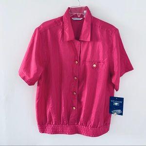 Vintage Ship'N Shore Short Sleeve Pink Blouse 12